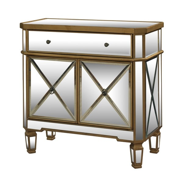 Powell Mirrored Furniture Powell Seraphina Gold and Mirrored Console 1-drawer 2 Doors - Free ...