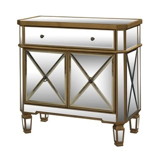 Powell Seraphina Gold and Mirrored Console 1-drawer 2 Doors