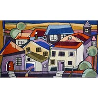 Handmade Chain Stitch 'House' Tapestry (India)