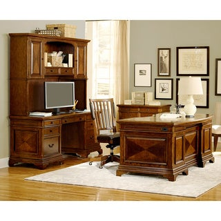 Ethan 66-inch Curved Executive Desk, Credenza and Hutch with Office Chair