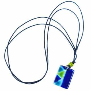 Blue Zig-Zag Fused Glass Pendant Necklace (Chile)