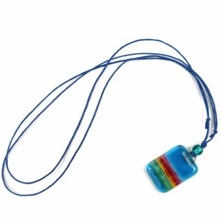 Sky Blue Rainbow Fused Glass Pendant Necklace (Chile)