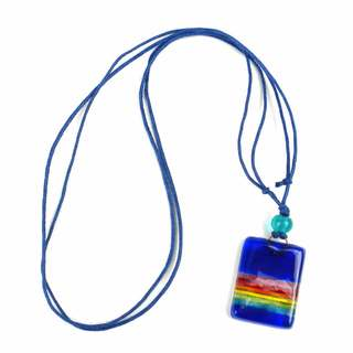 Deep Blue Rainbow Fused Glass Pendant Necklace (Chile)
