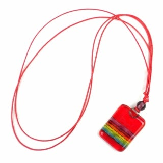 Red Rainbow Fused Glass Pendant Necklace (Chile)