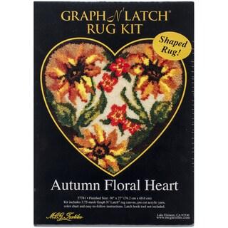 "Latch Hook Kit 30""X27"" Shaped-Autumn Floral Heart"