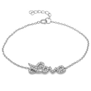 Sterling Essentials Rhodium-plated Sterling Silver Cubic Zirconia Love Bracelet