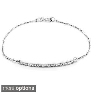 Sterling Essentials Silver Cubic Zirconia Bar Chain Bracelet