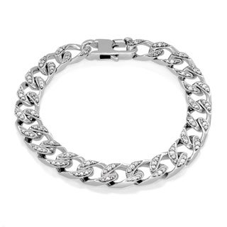 Sterling Essentials Sterling Silver Cubic Zirconia 9 mm Cuban Link Bracelet