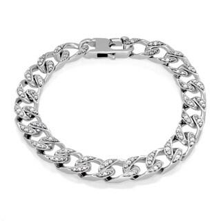 Sterling Silver Cubic Zirconia 9 mm Cuban Link Bracelet