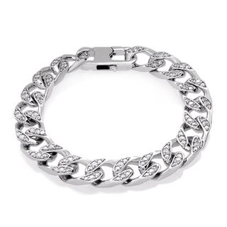 Sterling Essentials Sterling Silver Cubic Zirconia 10 mm Cuban Link Bracelet