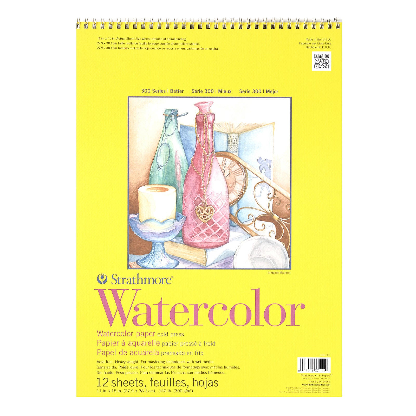 Strathmore 360180 Cold Press 140-Pound 12-Sheet Watercolor Paper Pad 18 by 24-Inch