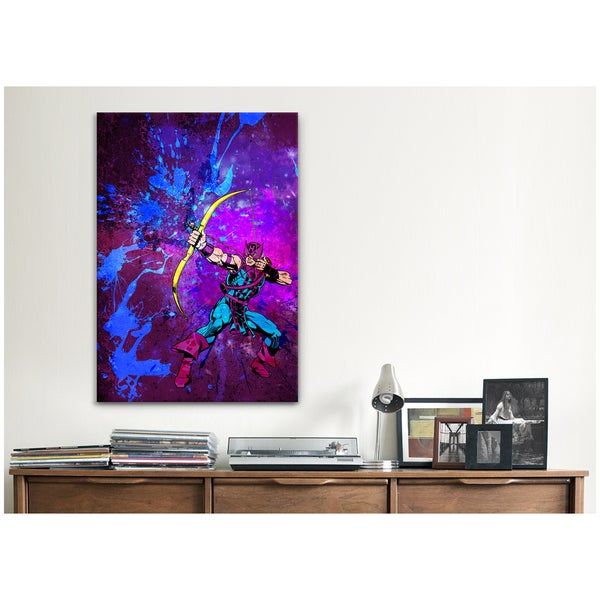 iCanvas Marvel Comics Hawkeye with Bow and Arrow Painted Grunge Canvas Print Wall Art