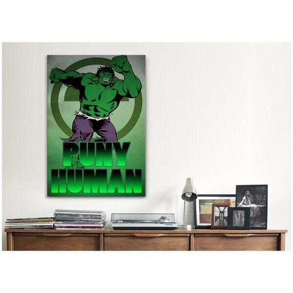 iCanvas Marvel Comic Book Hulk Tagline: Puny Human Canvas Print Wall Art