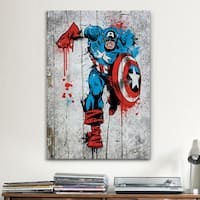 iCanvas Marvel Comic Book: Captain America Spray Paint Canvas Print Wall Art