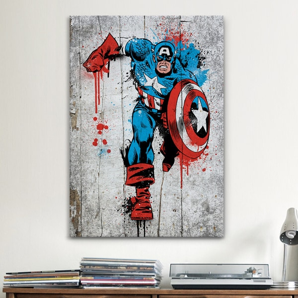 Exceptional ICanvas Marvel Comic Book: Captain America Spray Paint Canvas Print Wall Art Part 27