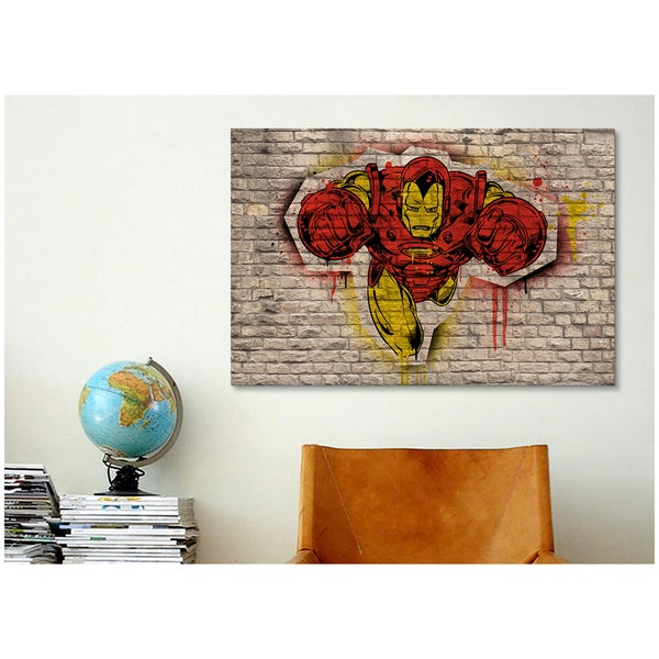 iCanvas Marvel Comic Book: Iron Man Graffiti Canvas Print Wall Art
