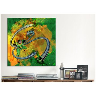 iCanvas Marvel Comics Doctor Octopus with Tentacles Painted Grunge Canvas Print Wall Art