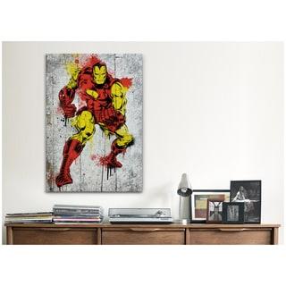 iCanvas Marvel Comic BookIron Man Spray Paint B Canvas Print Wall Art