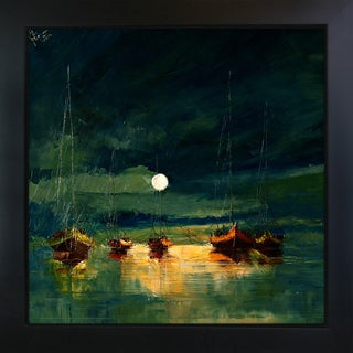Justyna Kopania 'Boats (with moon)' Framed Fine Art Print