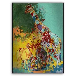 Gallery Direct Fatmir Gjevukaj's 'Two Zebras and a Giraffe' Metal Art