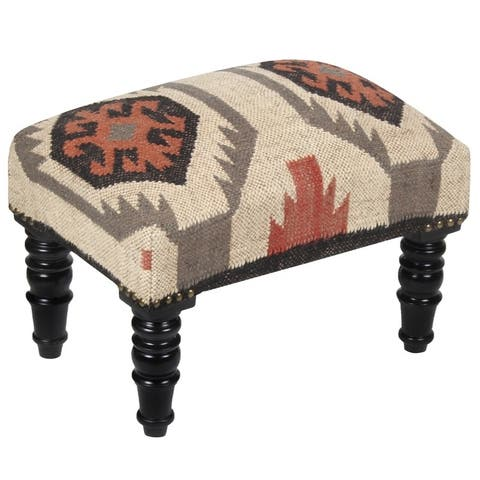 "Handmade Indo Kilim Ottoman Footstool (India) - 18"" x 12"" x 12"""
