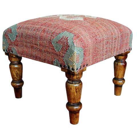 "Handmade Indo Kilim Ottoman Footstool (India) - 16"" x 16"" x 14"""