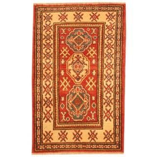 Herat Oriental Afghan Hand-knotted Tribal Kazak Red/ Navy Wool Rug (2'1 x 3'4)