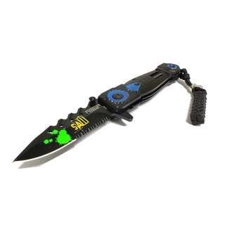 """8"""" Saw Spring Assisted Knife Serrated Stainless Steel Blade"""