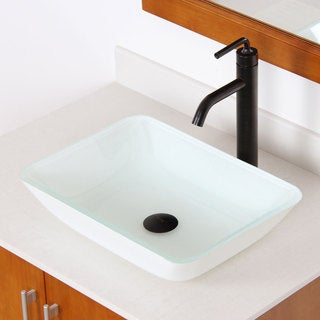 Elite 1422 White Rectangle Tempered Glass Bathroom Vessel Sink