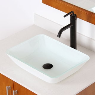 Elite 1422 White Rectangle Tempered Glass Bathroom Vessel Sink