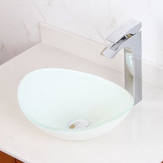 Elite Oval White Glass Bathroom Vessel Sink
