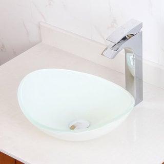 Elite Oval White Glass Bathroom Vessel Sink