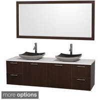 Wyndham Collection Amare Espresso 72-inch Double Bathroom Vanity White Man-made Stone Counter