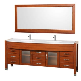 Wyndham Collection Daytona Cherry 78-inch Double Bathroom Vanity White Man-made Stone Top