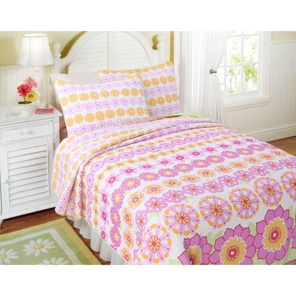 Summer Flowers Cotton 3-piece Quilt Set