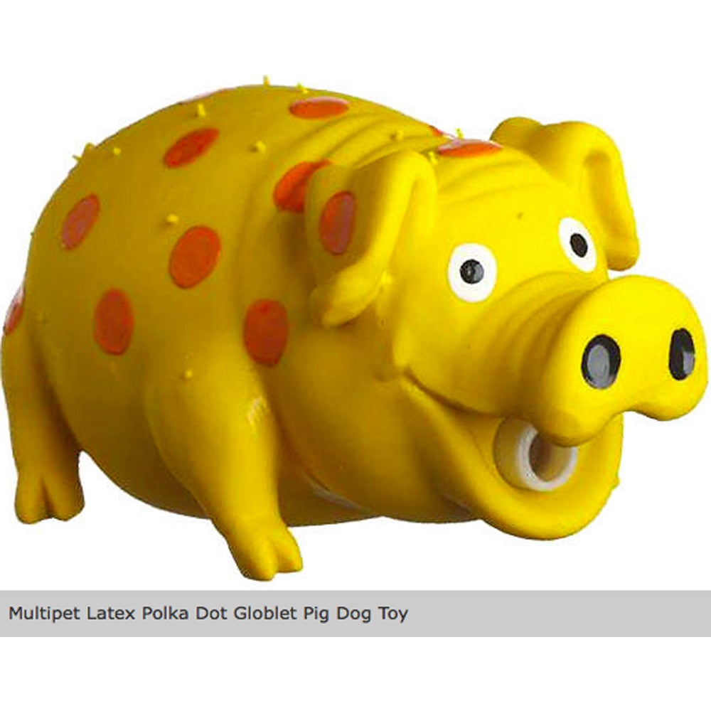 Multipet 9-inch Latex Globkins Pig Dog Toy (9in Pig), Multi