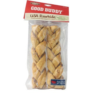 Castor & Pollux 7-inch Braided Rawhide Dog Chew (Pack of 2)