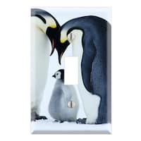 Sweet Baby Penguin with Parents Decorative Wall Plate Cover