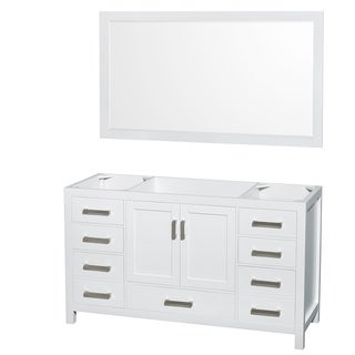 Wyndham Collection Sheffield White 60-inch Single Bathroom Vanity No Countertop, No Sink