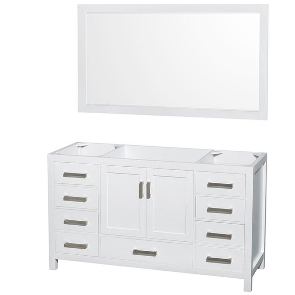 Wyndham Collection Sheffield White 60-inch Single Bathroom Vanity No Countertop, No Sink