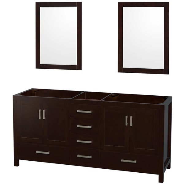 Sheffield espresso 72 inch double bathroom vanity with for Bathroom 72 inch vanity