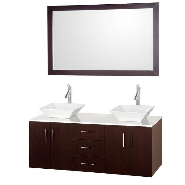 Wyndham collection arrano espresso 55 inch double bathroom vanity white man made stone top for 55 inch double sink bathroom vanity