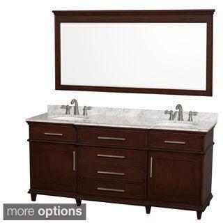 Wyndham Collection Berkeley Dark Chestnut 72-inch Double Bathroom Vanity and 70-inch Mirror