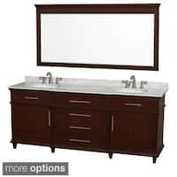 Wyndham Collection Berkeley Dark Chestnut 80-inch Double Bathroom Vanity and 70-inch Mirror