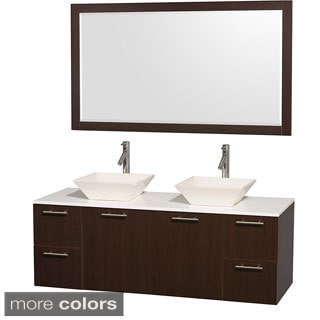 Wyndham Collection Amare 60-inch Espresso Double Bathroom Vanity with White Man-made Stone Top