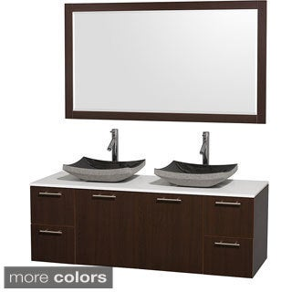 Wyndham Collection Amare Espresso 60-inch Double Bathroom Vanity White Man-made Stone Top