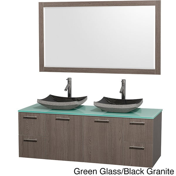 Wyndham Collection Amare Grey Oak 60-inch Double Bathroom Vanity and Green Glass Countertop