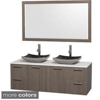 Wyndham Collection Amare Grey Oak 60-inch Double Bathroom Vanity White Man-made Stone Counter