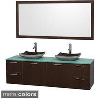 Wyndham Collection Amare Espresso 72-inch Double Bathroom Vanity and Green Glass Countertop