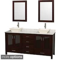 Wyndham Collection Lucy Espresso 72-inch Double Bathroom Vanity White Carrera Marble Top